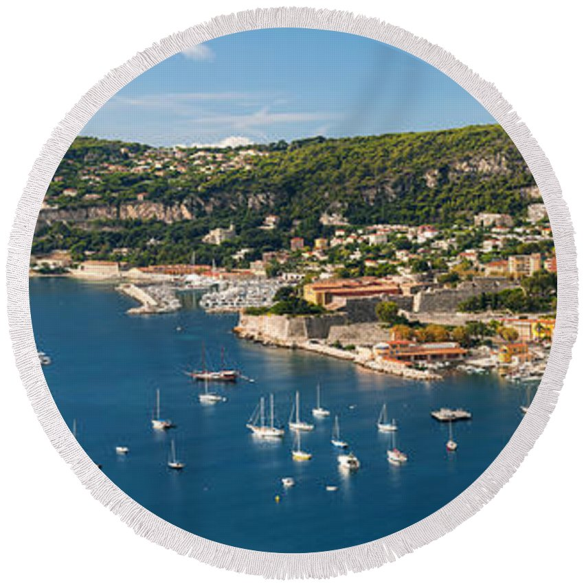 Villefranche-sur-mer Round Beach Towel featuring the photograph Villefranche-sur-mer And Cap De Nice On French Riviera by Elena Elisseeva