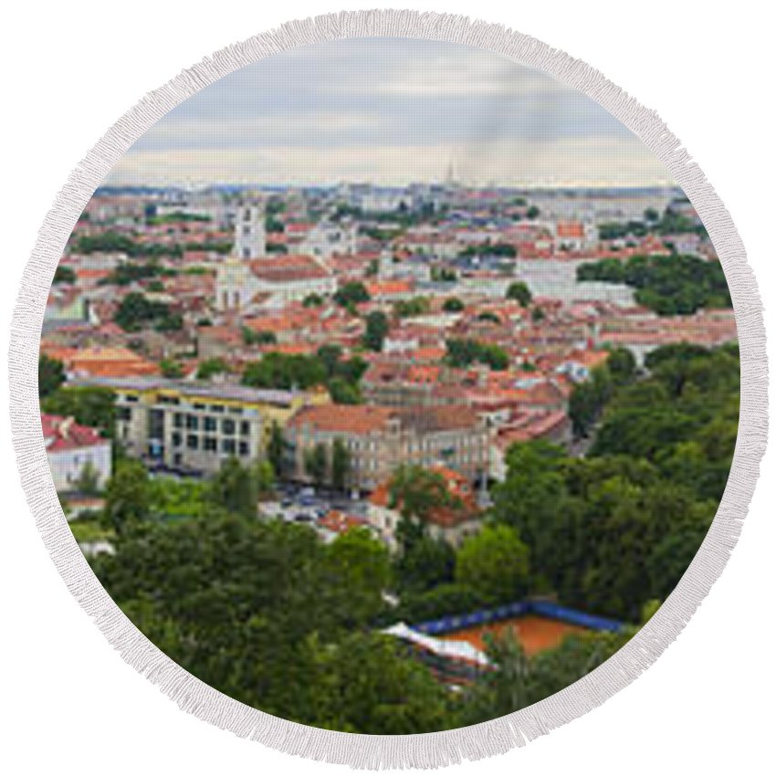 Vilnius Round Beach Towel featuring the photograph Vilnius Panorama From The Hill Of Three Crosses by RicardMN Photography