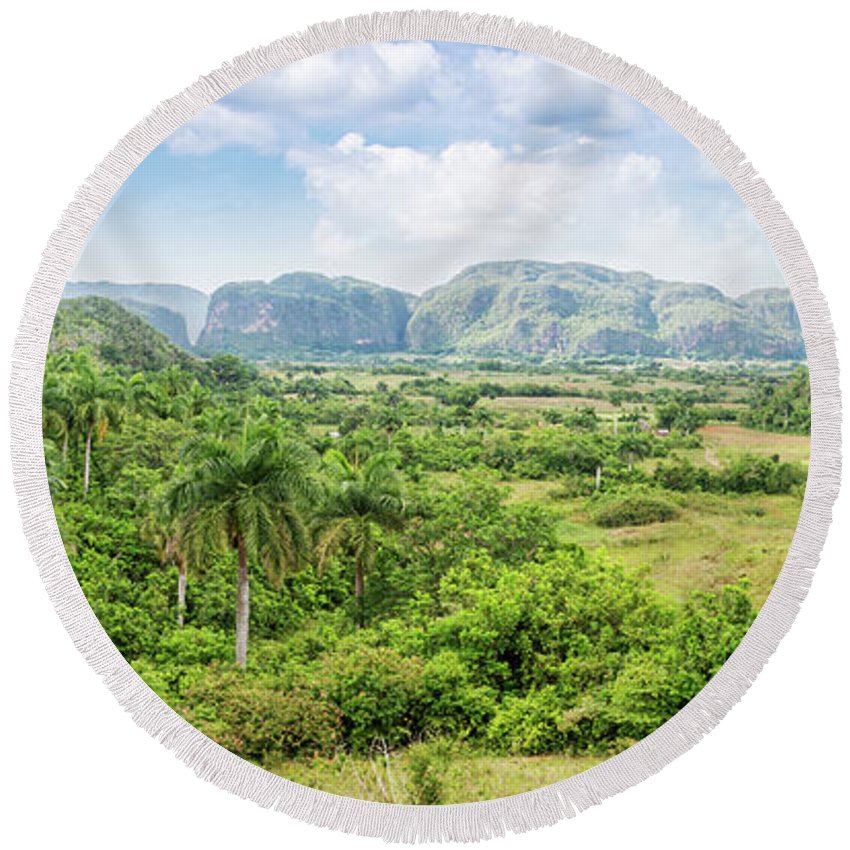 Cuba Round Beach Towel featuring the photograph Vinales Valley by Delphimages Photo Creations