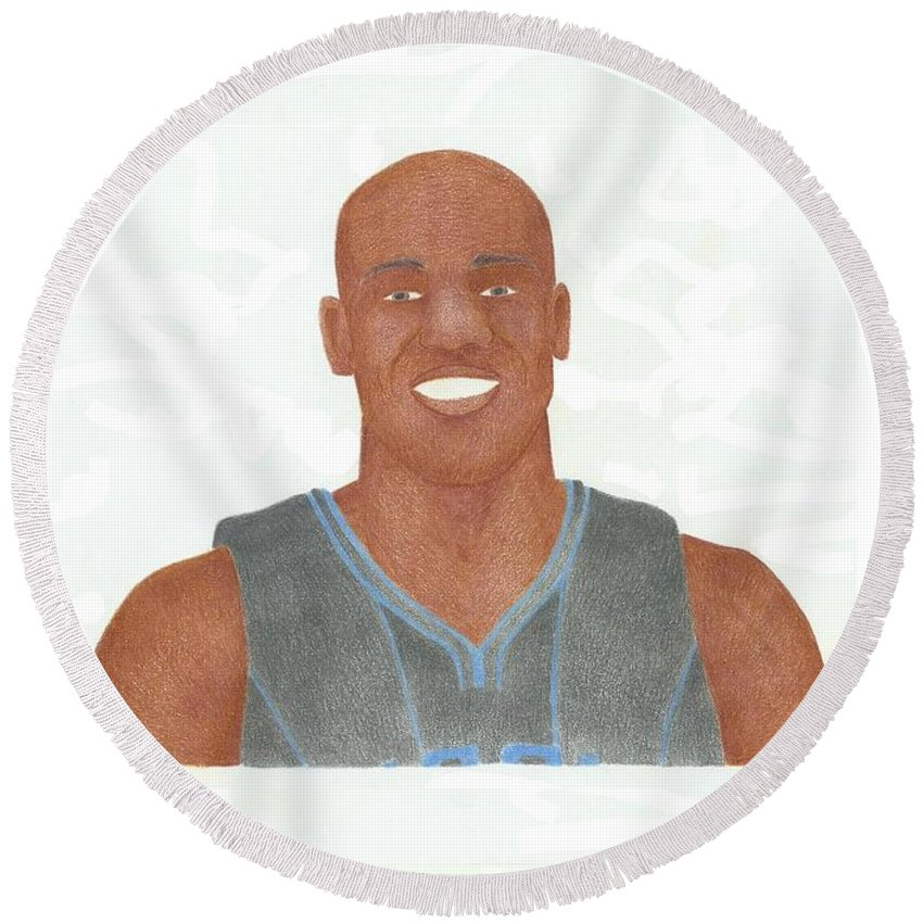Basketball Round Beach Towel featuring the drawing Vince Carter by Toni Jaso