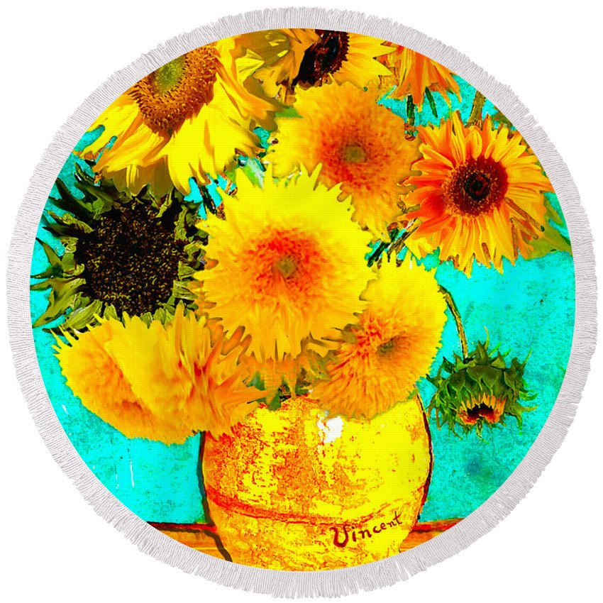 Vincent Round Beach Towel featuring the drawing Vincent's Sunflowers 4 by Jose A Gonzalez Jr