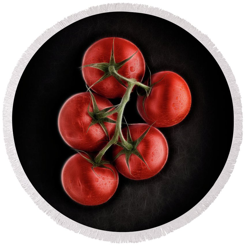 Ripe Round Beach Towel featuring the digital art Vine Ripened Tomatoes. by Phill Thornton