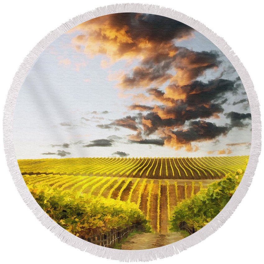 Vineyard Round Beach Towel featuring the photograph Vineard Aglow by Sharon Foster
