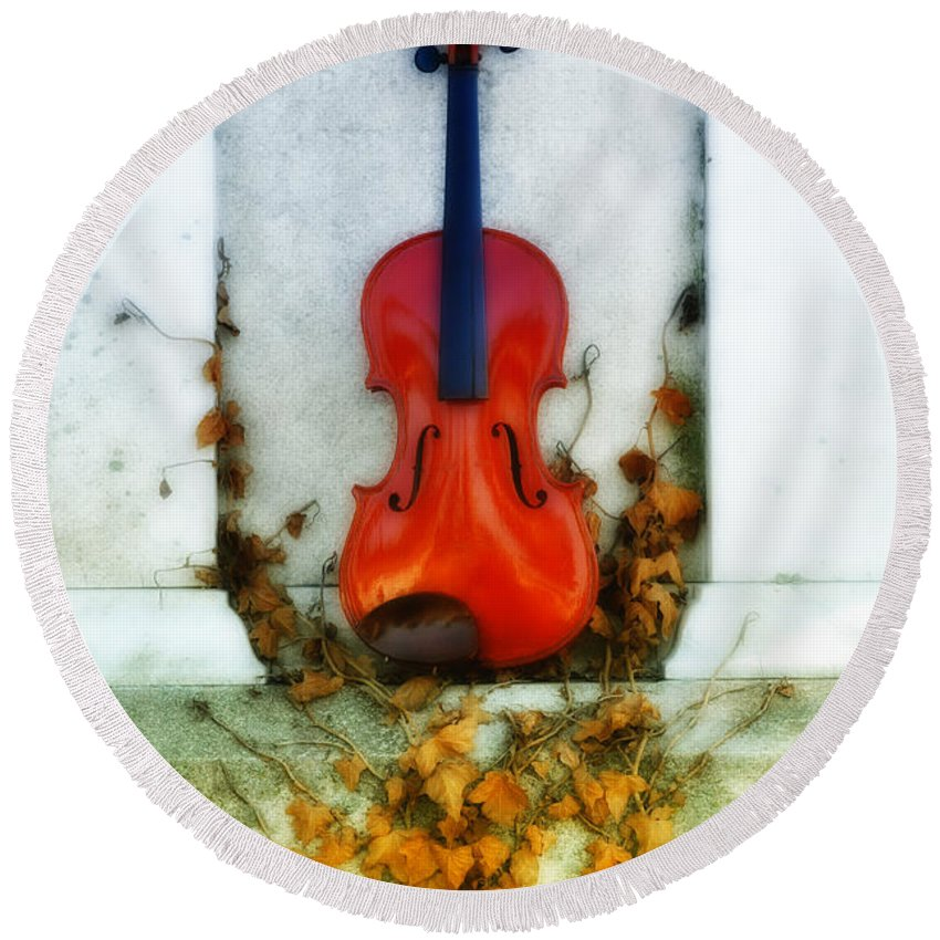 Violin Round Beach Towel featuring the photograph Vines And Violin by Bill Cannon