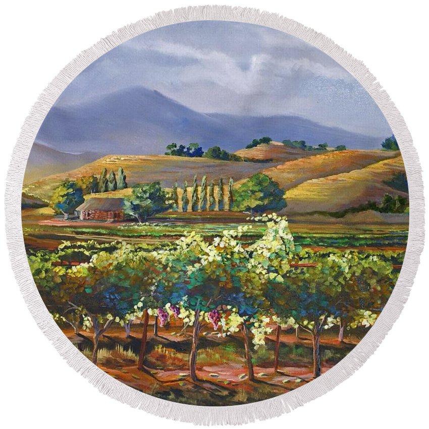 Vineyard Round Beach Towel featuring the painting Vineyard In California by Heather Coen