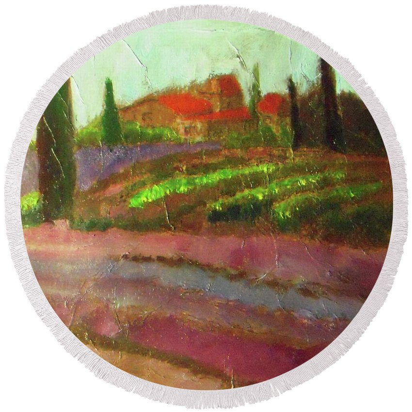 Landscape Round Beach Towel featuring the painting Tuscany Vineyard by Vesna Antic