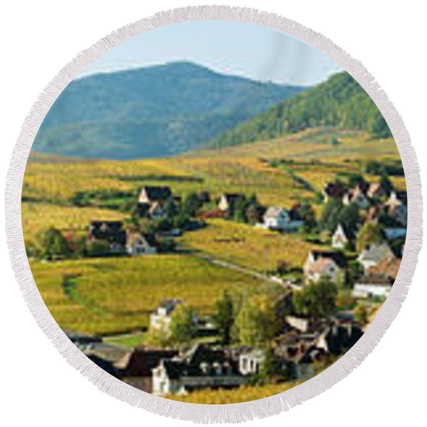 Photography Round Beach Towel featuring the photograph Vineyards In Autumn In The Morning by Panoramic Images