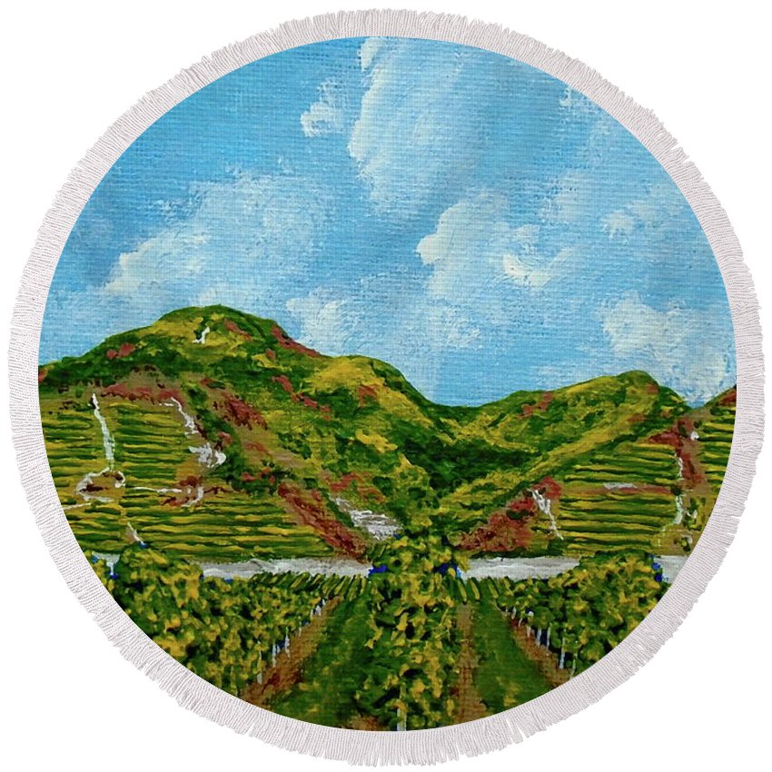Acrylic Round Beach Towel featuring the painting Vineyards Of The Wachau Valley by Mike Kraus
