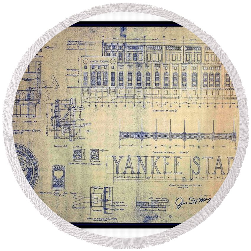 Vintage 1920s art deco yankee stadium blueprint autographed by joe peter g ogden round beach towel featuring the drawing vintage 1920s art deco yankee stadium blueprint malvernweather Images