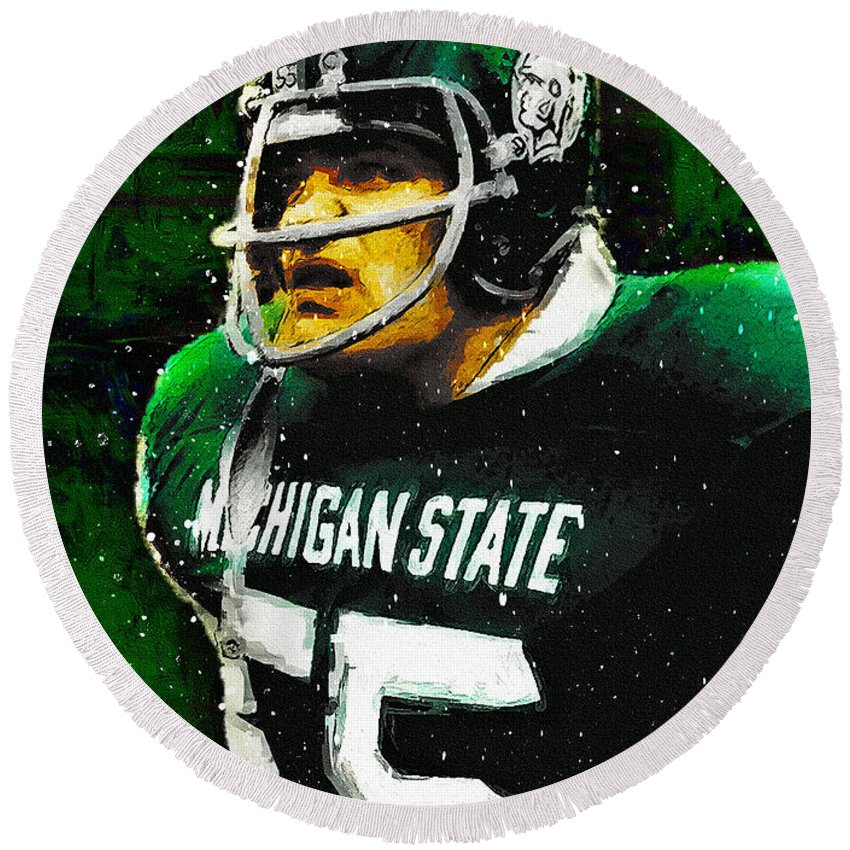 Michigan State Round Beach Towel featuring the painting Vintage Anger by John Farr