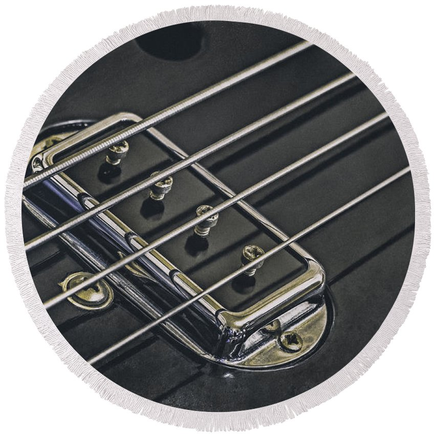 Scott Norris Photography Round Beach Towel featuring the photograph Vintage Bass by Scott Norris