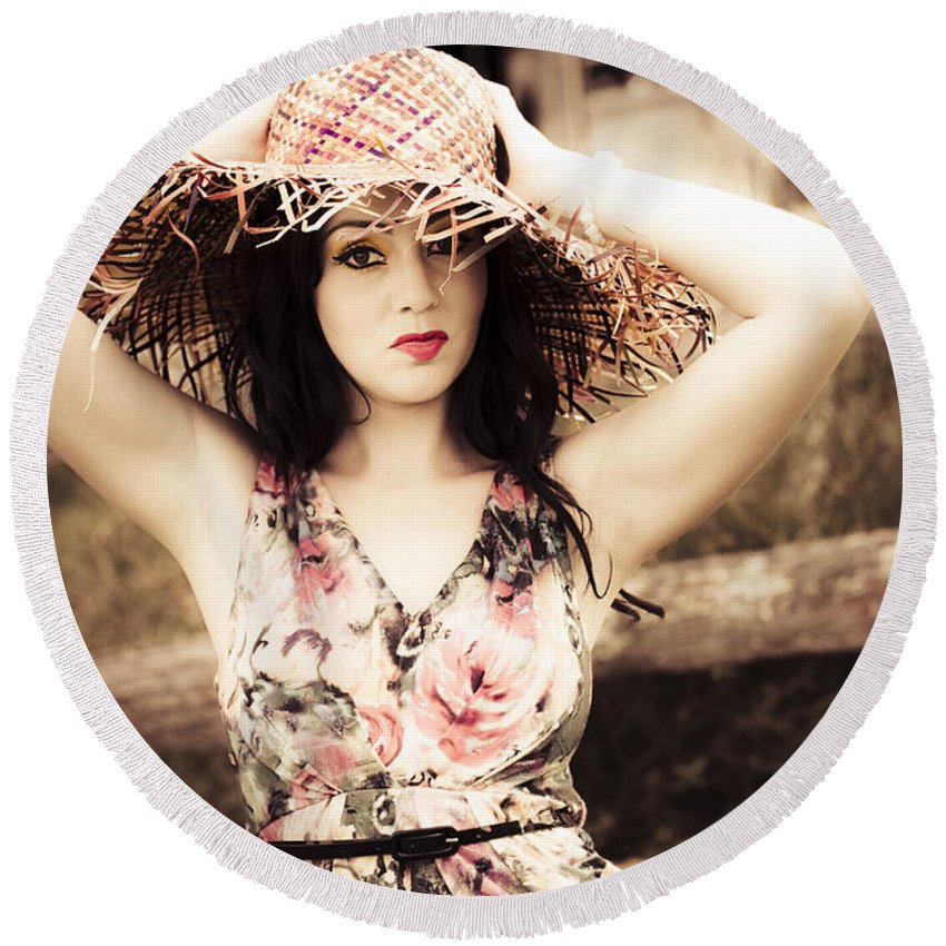 Attractive Round Beach Towel featuring the photograph Vintage Beauty And Glamour by Jorgo Photography - Wall Art Gallery