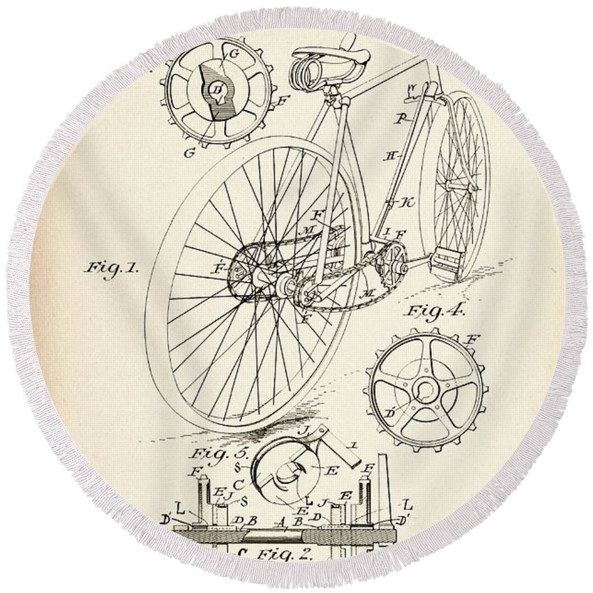 Bicycle Round Beach Towel featuring the photograph Vintage Bicycle - Patent Drawing For The 1899 J. J. Hentz Bicycle by Jose Elias - Sofia Pereira