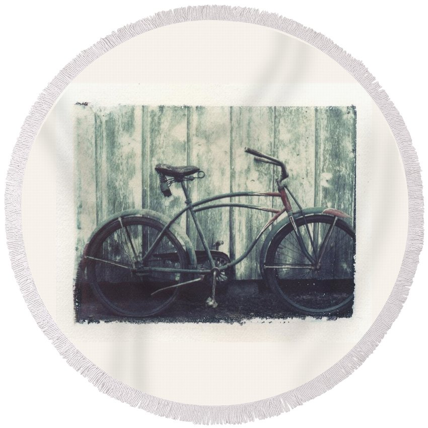 Polaroid Transfer Round Beach Towel featuring the photograph Vintage Bike Polaroid Transfer by Jane Linders