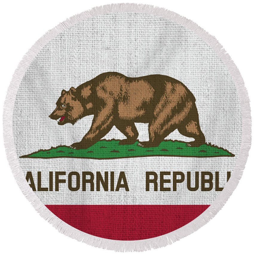 Vintage Round Beach Towel featuring the photograph Vintage California Flag by Bill Cannon
