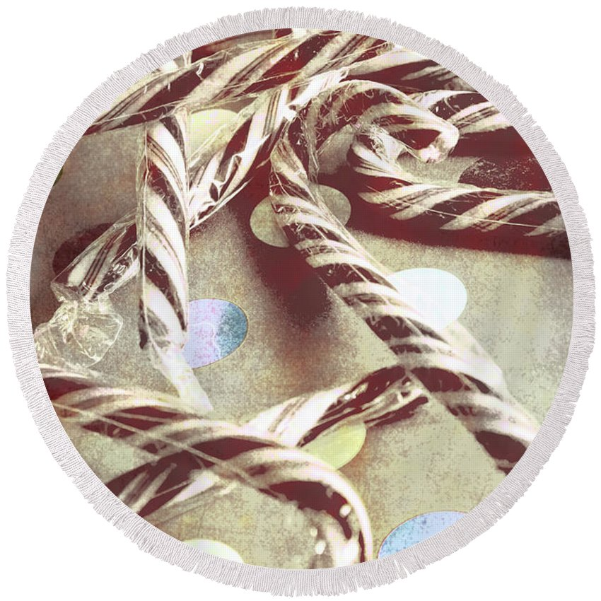 Xmas Round Beach Towel featuring the photograph Vintage Candy Canes by Jorgo Photography - Wall Art Gallery
