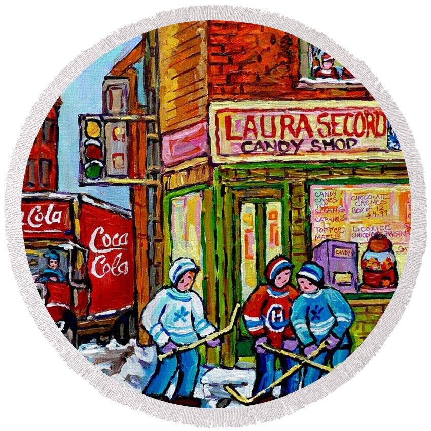Montreal Round Beach Towel featuring the painting Vintage Candy Store Classic Coca Cola Truck Winter Scene Hockey Art Canadian Art Carole Spandau   by Carole Spandau