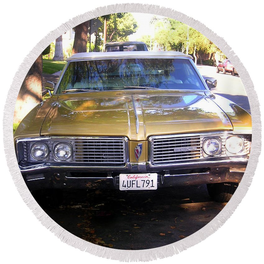 Car Round Beach Towel featuring the photograph Vintage Car. Front View by Sofia Metal Queen