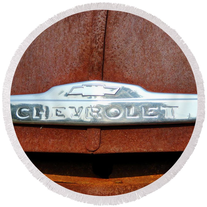 Chevrolet Pickup Round Beach Towel featuring the photograph Vintage Chevy Truck Emblem by Brian Manfra