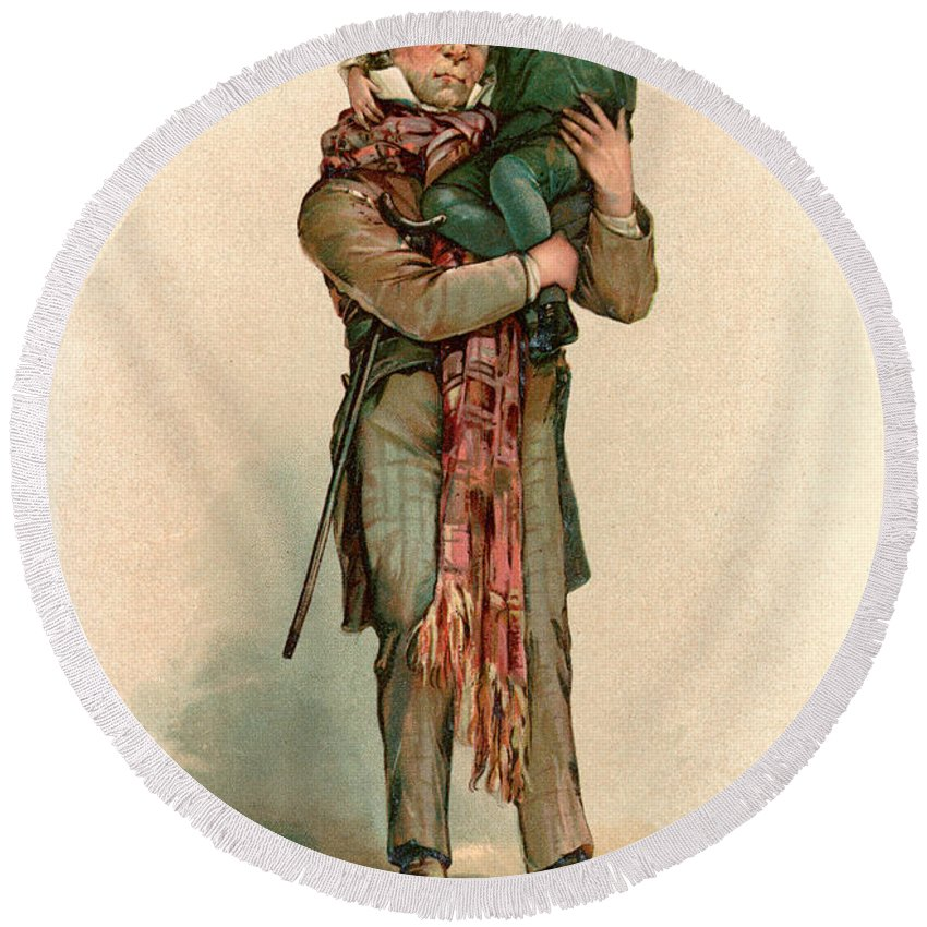 Vintage Christmas Card Depicting Bob Cratchit Carrying Tiny Tim ...