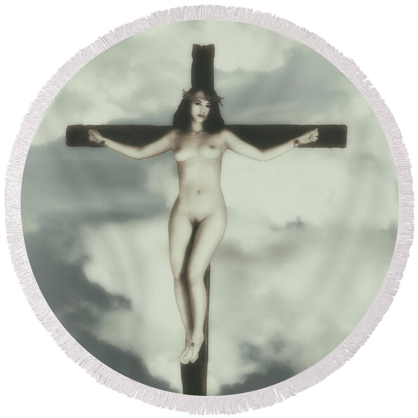 Vintage Round Beach Towel featuring the photograph Vintage Crucified Woman by Ramon Martinez