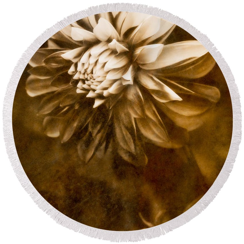 Abstract Round Beach Towel featuring the photograph Vintage Dahlia by Venetta Archer