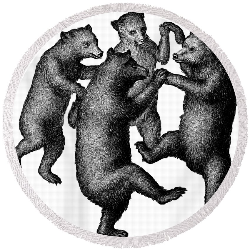 More From Edward Fielding Round Beach Towel featuring the drawing Vintage Dancing Bears by Edward Fielding