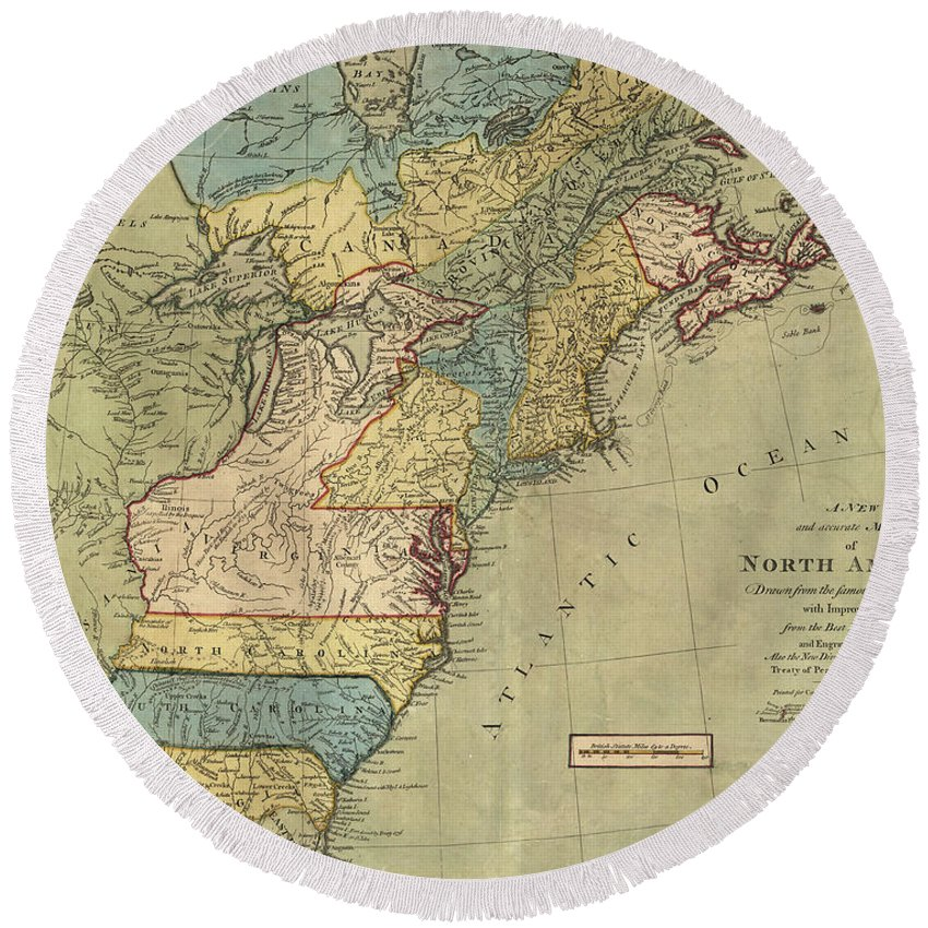 Americas Round Beach Towel featuring the drawing Vintage Discovery Map Of The Americas - 1771 by CartographyAssociates