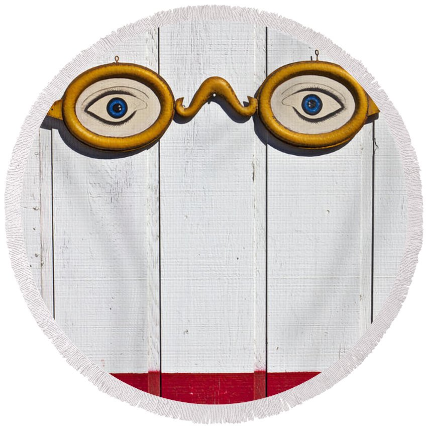 Eye Sign Glasses Wall Antique Round Beach Towel featuring the photograph Vintage Eye Sign On Wooden Wall by Garry Gay