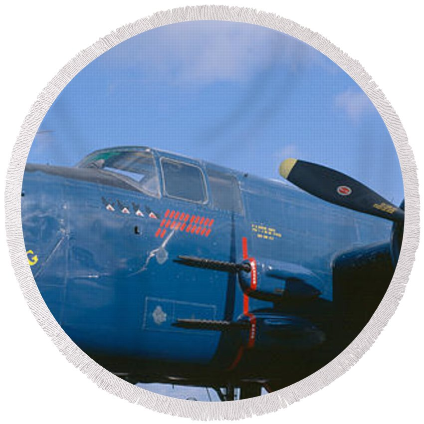 Photography Round Beach Towel featuring the photograph Vintage Fighter Aircraft, Burnet, Texas by Panoramic Images