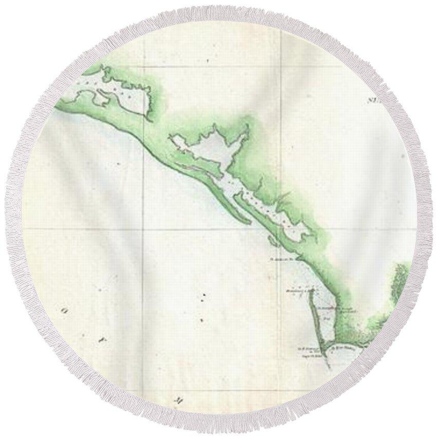 Florida Panhandle Round Beach Towel featuring the drawing Vintage Florida Panhandle Coastal Map - 1852 by CartographyAssociates