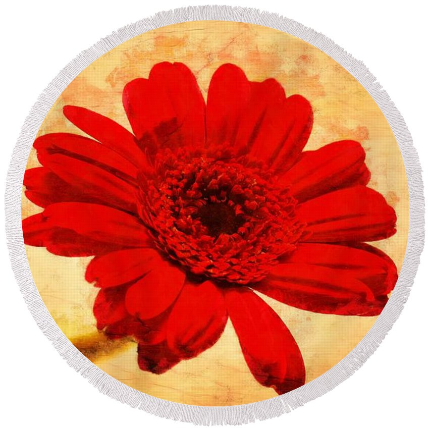 Vintage Round Beach Towel featuring the photograph Vintage Gerbera Daisy by Scott Carruthers