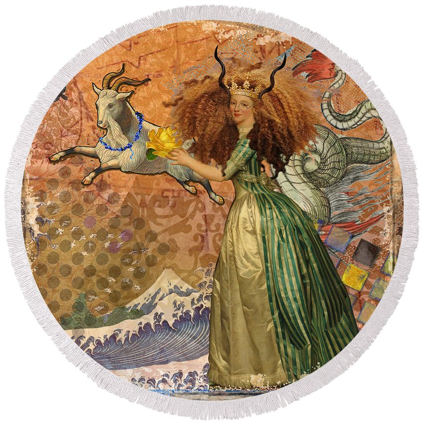 Doodlefly Round Beach Towel featuring the digital art Vintage Golden Woman Capricorn Gothic Whimsical Collage by Mary Hubley