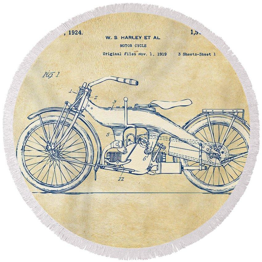 Harley-davidson Round Beach Towel featuring the digital art Vintage Harley-davidson Motorcycle 1924 Patent Artwork by Nikki Smith
