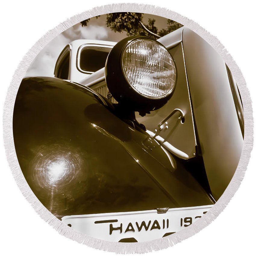 1937 Ford Round Beach Towel featuring the photograph 1937 Ford Pickup Truck Maui Hawaii by Jim Cazel