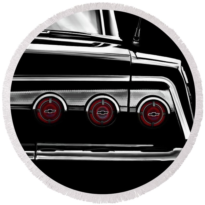 Classic Round Beach Towel featuring the digital art Vintage Impala Black And White by Douglas Pittman