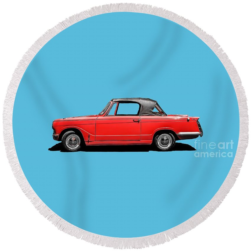 Classic Round Beach Towel featuring the photograph Vintage Italian Automobile Red Tee by Edward Fielding
