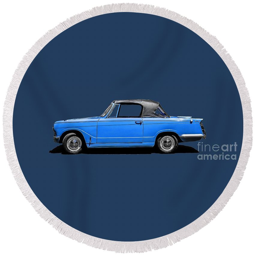 Classic Round Beach Towel featuring the photograph Vintage Italian Automobile Tee by Edward Fielding