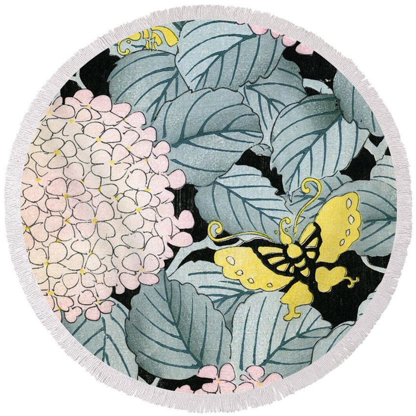 Pattern Round Beach Towel featuring the painting Vintage Japanese Illustration Of A Hydrangea Blossoms And Butterflies by Japanese School