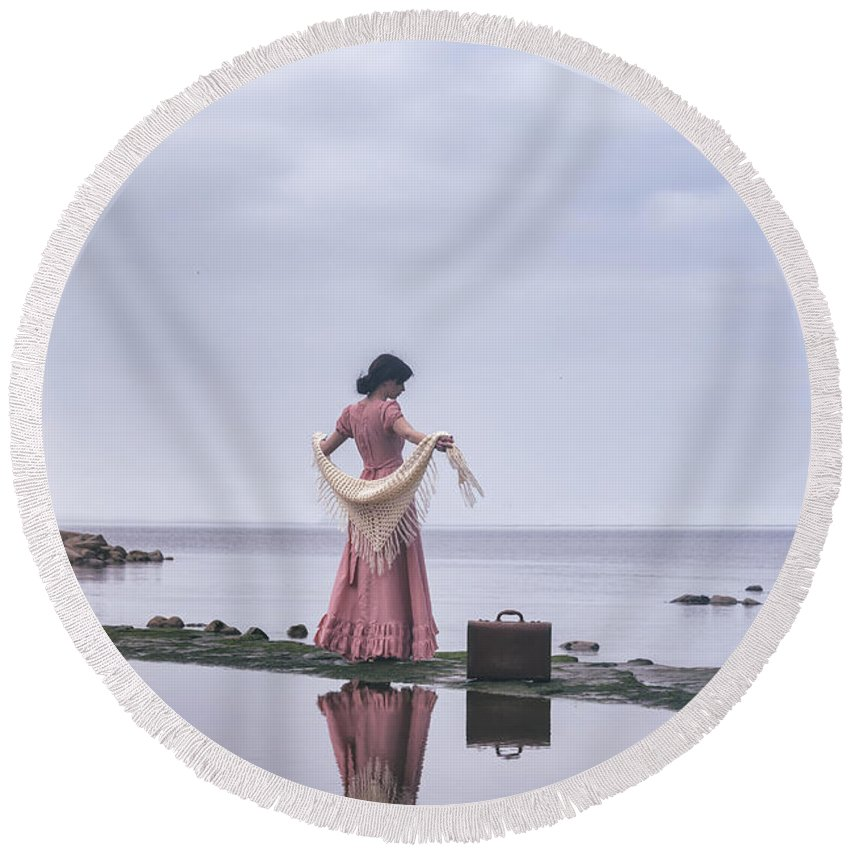 Round Beach Towel featuring the photograph Vintage Lady by Joana Kruse