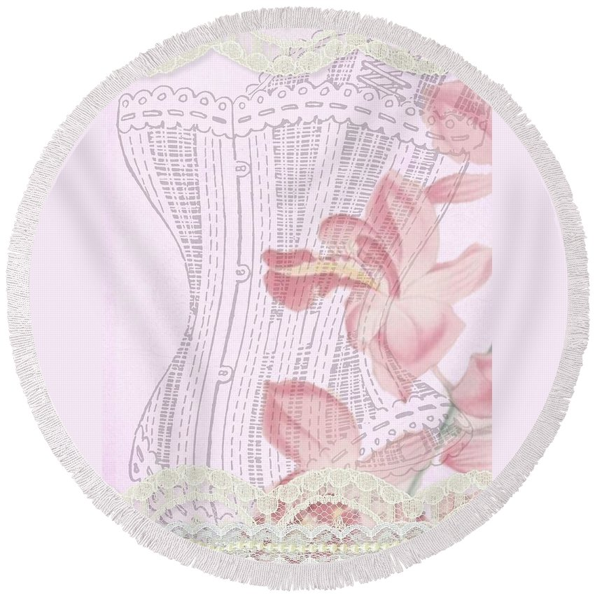 Old Round Beach Towel featuring the painting Vintage Look by FL collection