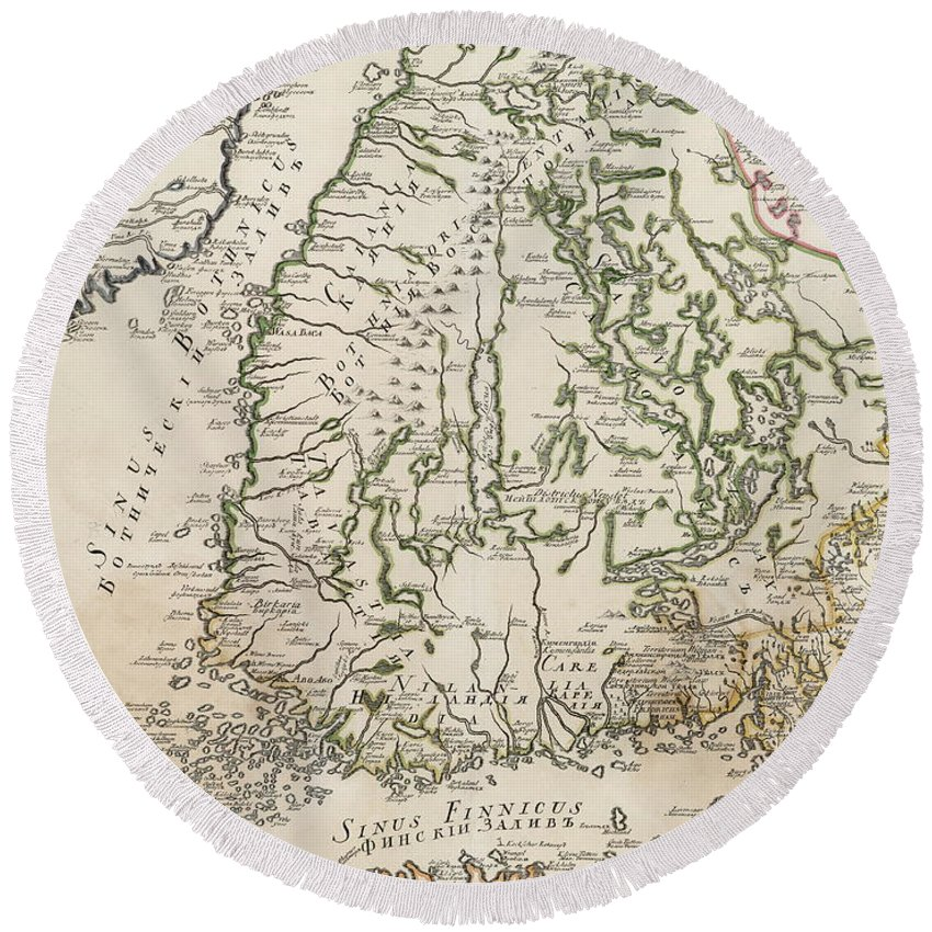 Finland Round Beach Towel featuring the drawing Vintage Map Of Finland - 1740s by CartographyAssociates