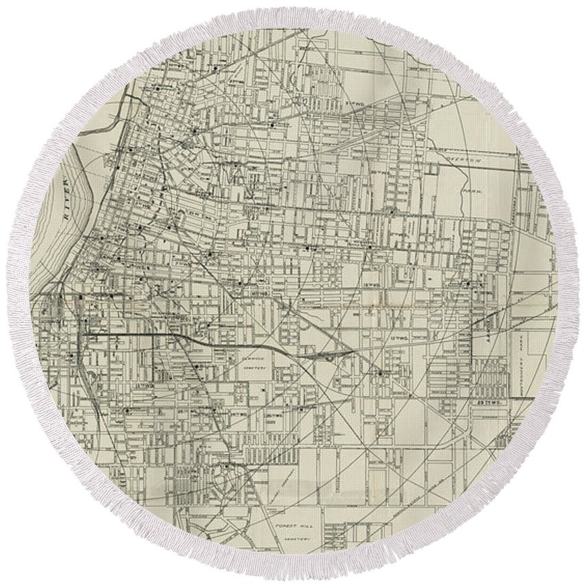 Memphis Round Beach Towel featuring the drawing Vintage Map Of Memphis Tennessee - 1911 by CartographyAssociates