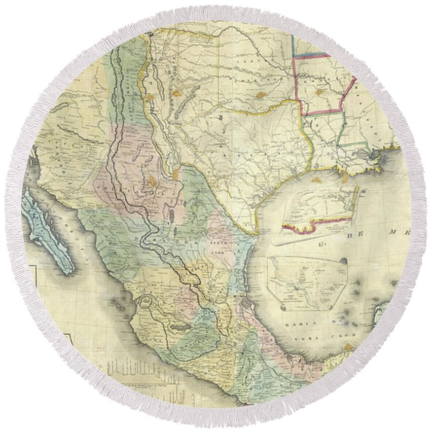 Mexico Round Beach Towel featuring the drawing Vintage Map Of Mexico - 1847 by CartographyAssociates