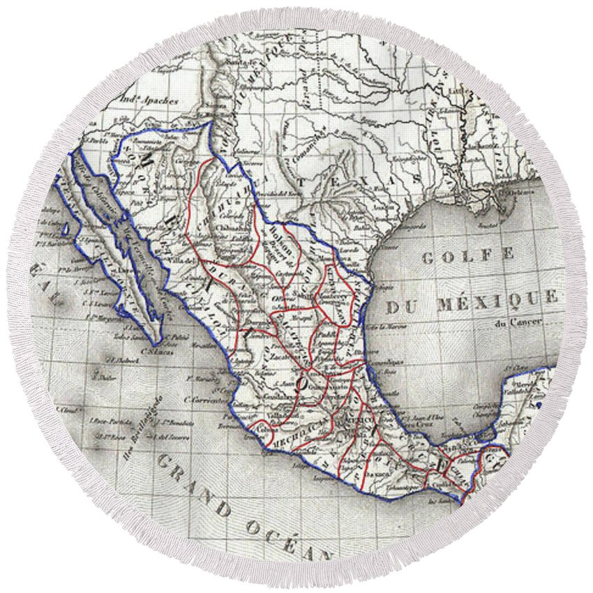 Mexico Round Beach Towel featuring the drawing Vintage Map Of Mexico - 1852 by CartographyAssociates