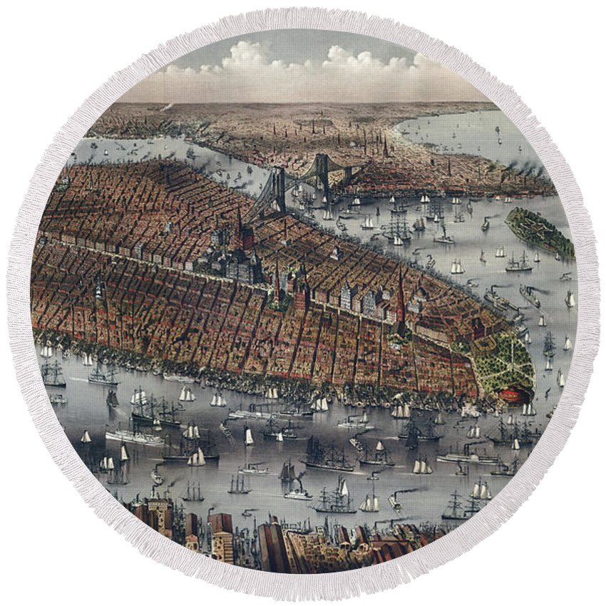 Antique Map Round Beach Towel featuring the painting Vintage Map Of New York And Brooklyn Circa 1875 by Tina Lavoie