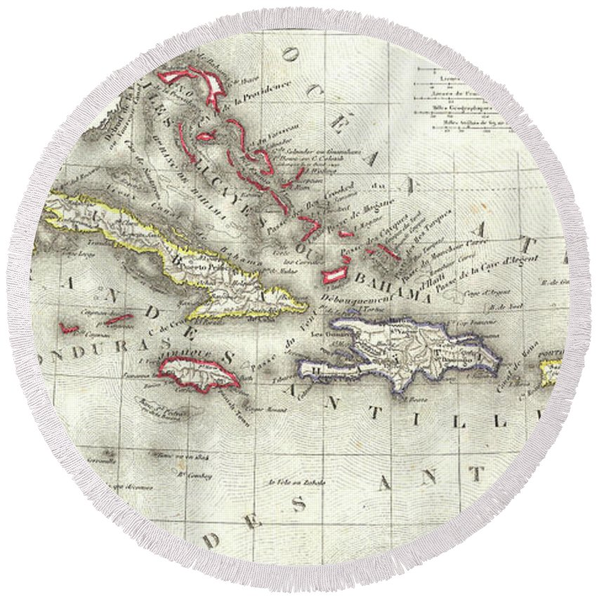 Caribbean Round Beach Towel featuring the drawing Vintage Map Of The Caribbean - 1852 by CartographyAssociates