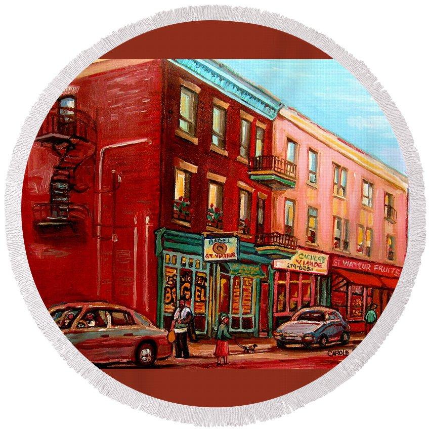 St Viateur Bagel Shop Montreal Street Scenes Round Beach Towel featuring the painting Vintage Montreal by Carole Spandau