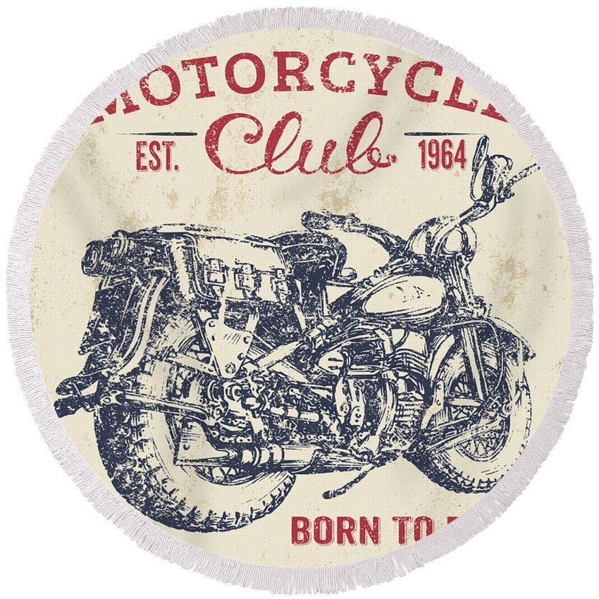 Man Cave Round Beach Towel featuring the digital art Vintage Motorcycling Mancave-b by Jean Plout