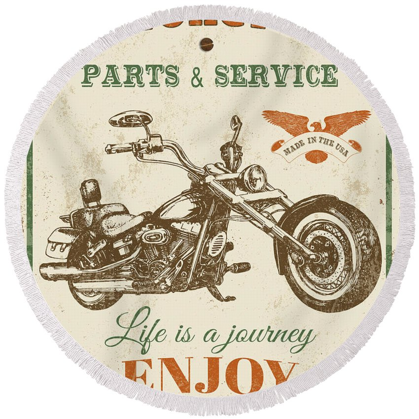 Man Cave Round Beach Towel featuring the digital art Vintage Motorcycling Mancave-c by Jean Plout